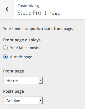 Static Front Page Options