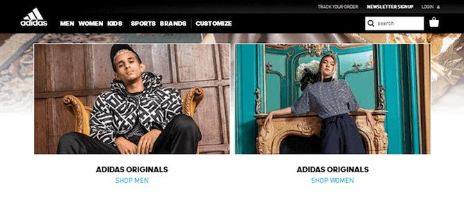 Adidas Splash Page