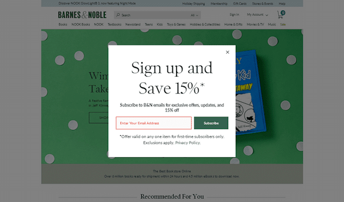Classic Pop Up Email Form / Barnes & Noble