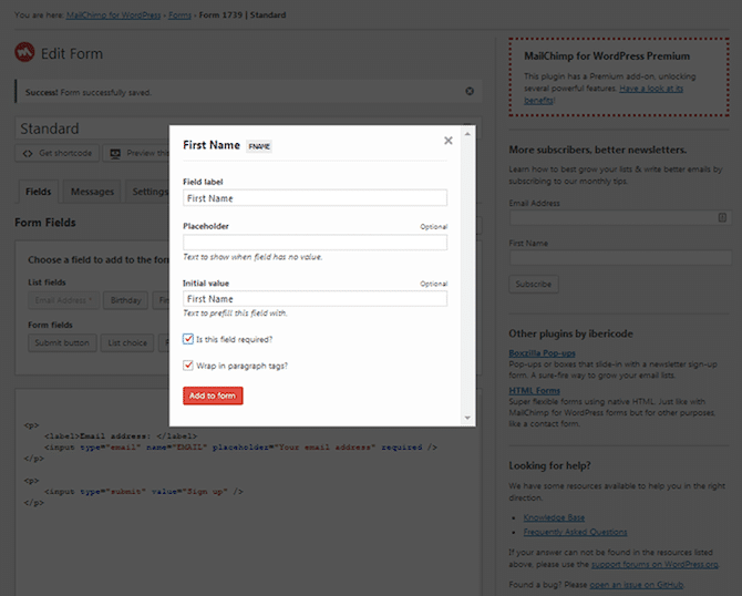 MailChimp WordPress New Field