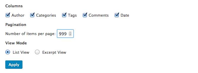 Screen Options Items