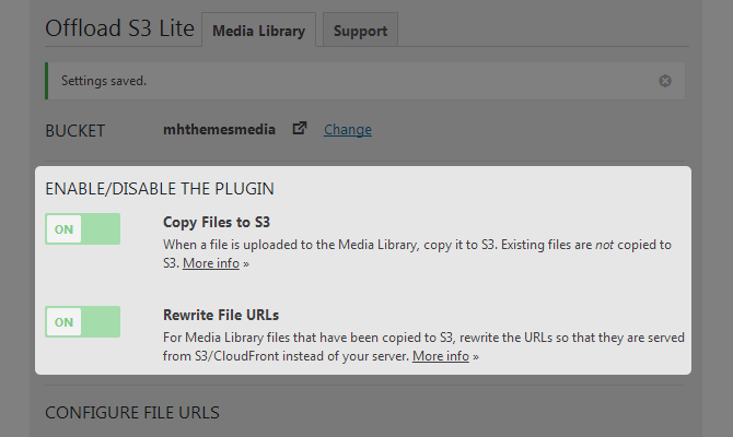 WP Offload S3 lite Enable/Disable Plugin