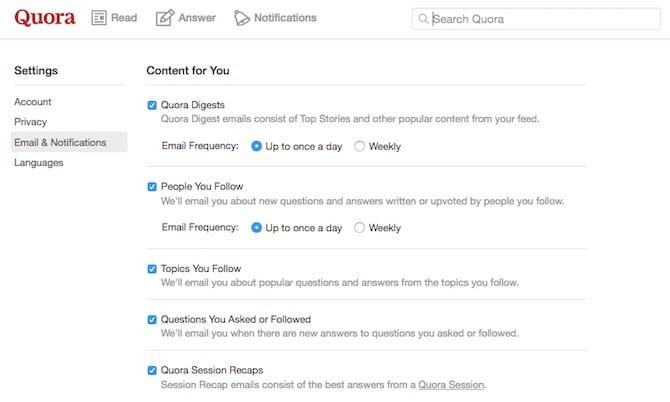 Quora Notifications Emails