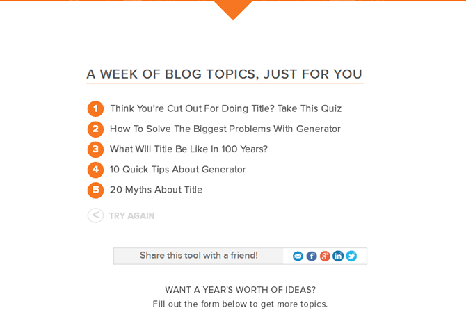 Hubspot Blog Ideas Generator Results