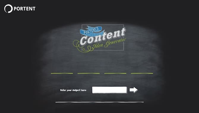 Content Idea Generator by Portent