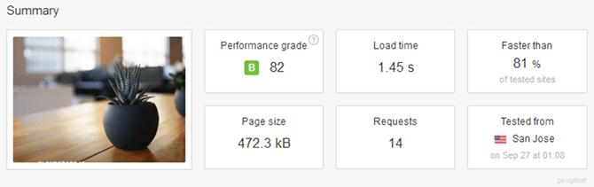 WordPlace Pingdom Results San Jose