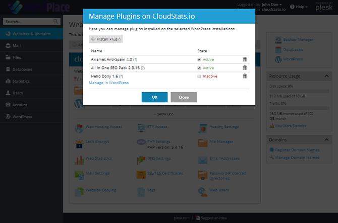 WordPlace Plesk Manage Plugins