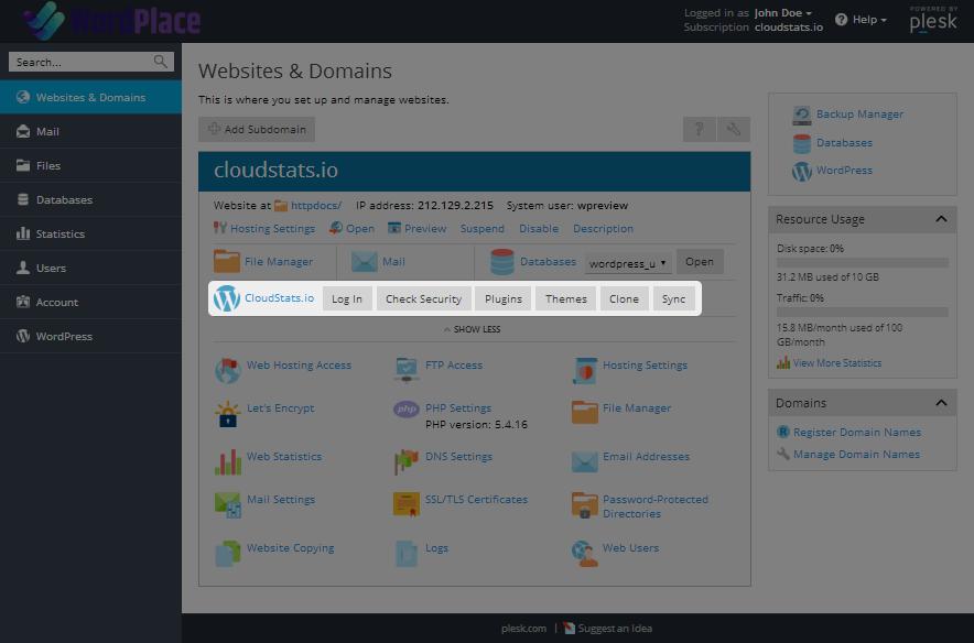 WordPlace Plesk WordPress