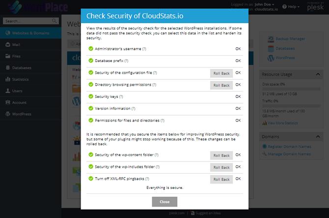 WordPlace Plesk WordPress Check Security