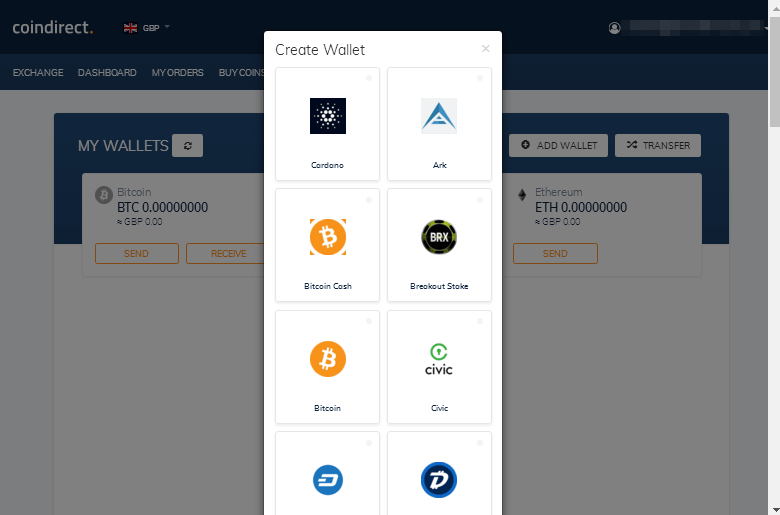 Coindirect Review - Add Wallet