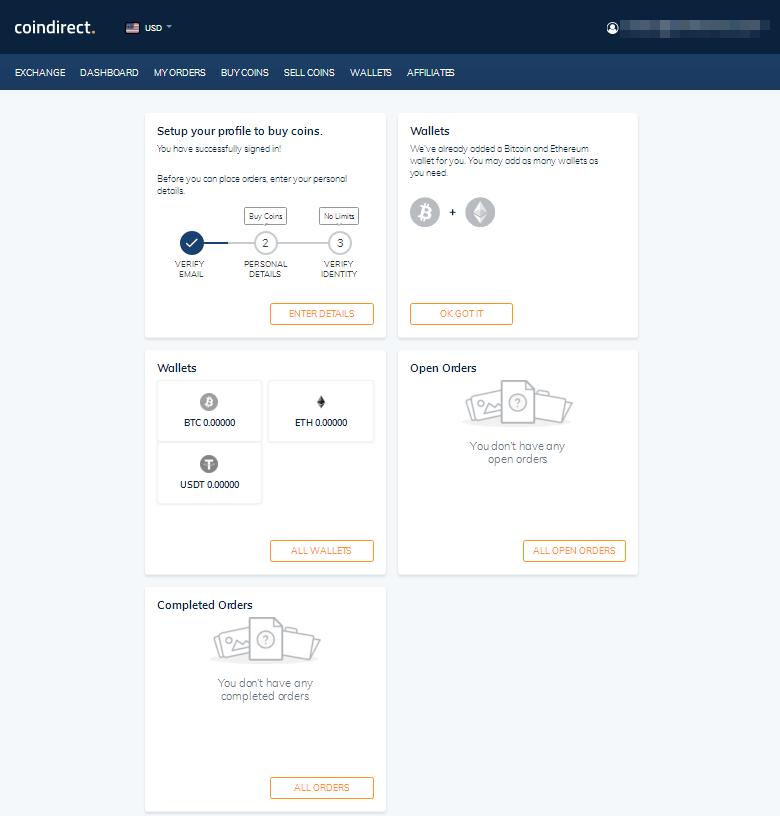 Coindirect Dashboard