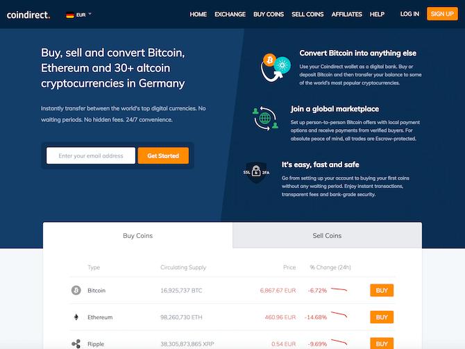 Coindirect Review - Screenshot