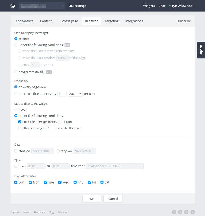 GetSiteControl Widget Behavior