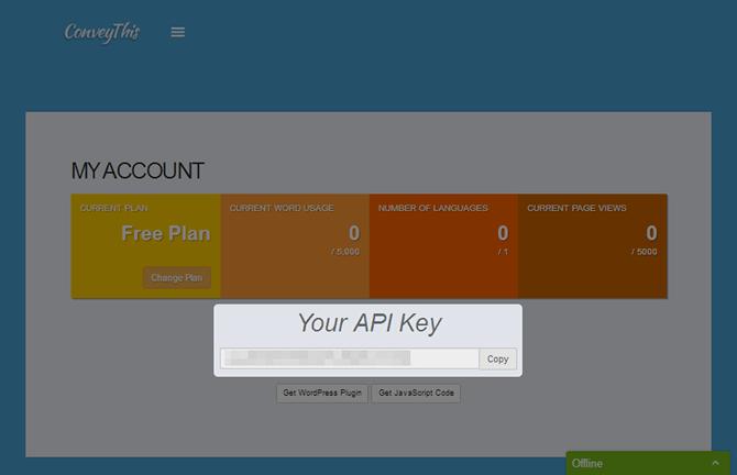 ConveyThis Plugin API Key