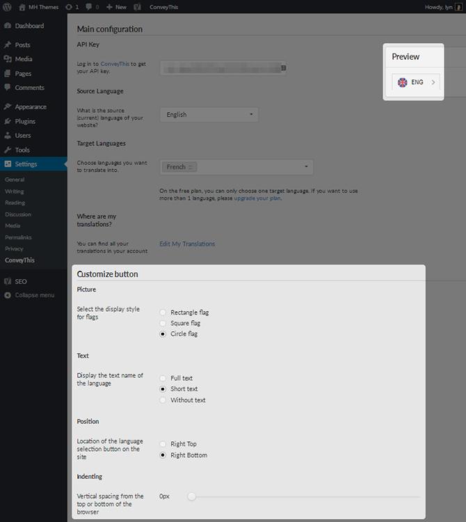 ConveyThis Plugin Customize Button