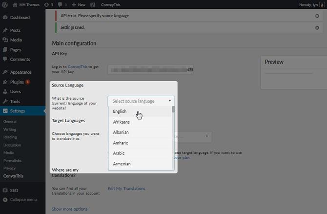 ConveyThis Plugin Source Language