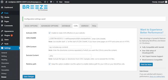 CloudwaysCDN Settings WordPress Dashboard